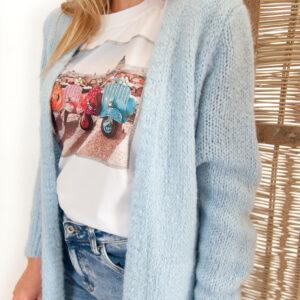Amy t-shirt – multicolor – wit/blauw